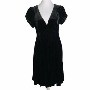 DKNY Velvet Puff Short Sleeve Empire Waist Dress